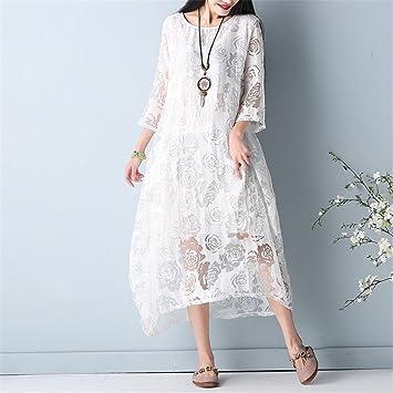 YAN Vestido de Las Mujeres Vestidos de Verano Estilo Vintage Vestido de Encaje Suelto de Gran