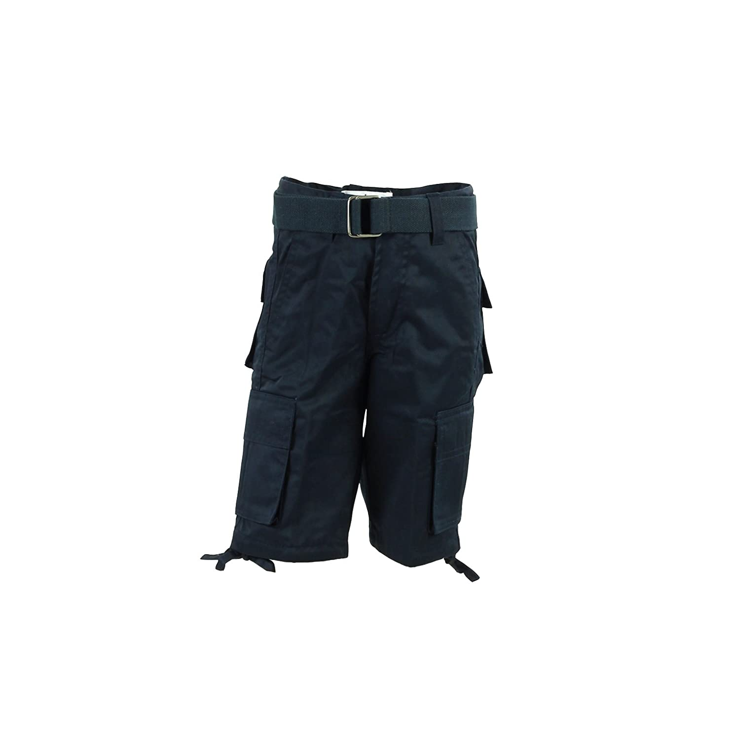 Access Boys Solid Color Cargo Shorts with Belt