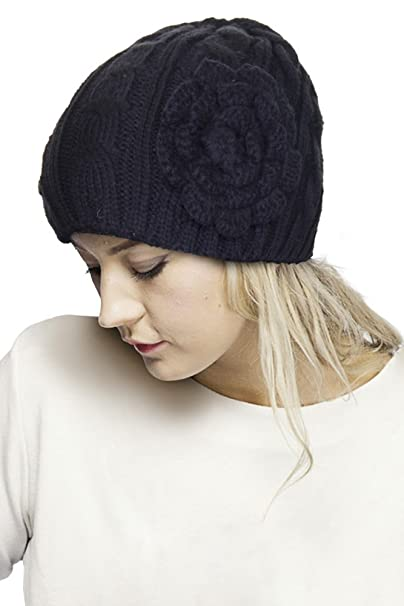 4326771f5ad ScarvesMe Flower Pendant Knitted CC Beanie (Black) at Amazon Women s ...