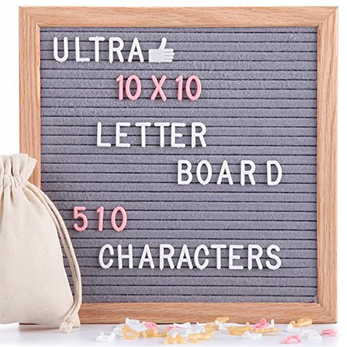 (Felt Letter Board Gray 10x10 Inches with Stand, 510 PCS Changeable Letters & Lovely Emojis, Solid Oak Wood Material, Decorative Display Board Designed with Metal Hook on The Wall (Grey))