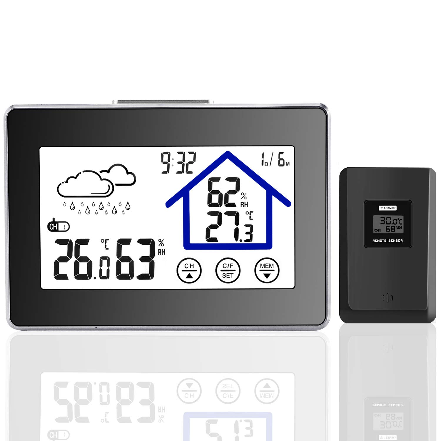 Joypea Wireless Weather Station,Indoor/Outdoor Wireless Temperature and Humidity Monitor- Temperature, Humidity, Current Time Backlight Outdoor Sensor-Black