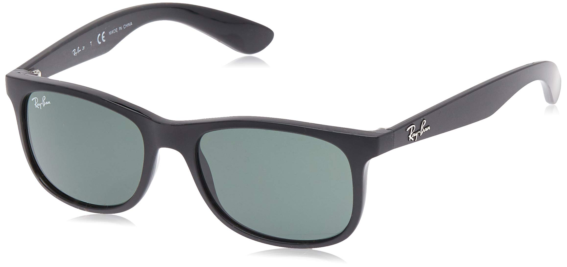 RAY-BAN JUNIOR Kids' RJ9062S Rectangular Kids Sunglasses, Matte Black/Dark Green, 48 mm by RAY-BAN JUNIOR