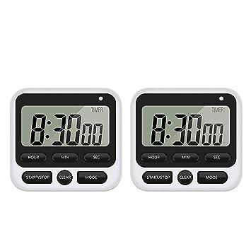 Vococal-2pcs Reloj de Cocina Digital Temporizador de Cuenta atrás conteo Cuenta Regresiva Reloj con Pantalla LED Alarma ruidosa para cocinar Ejercicio ...