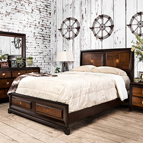 - Furniture of America Duo-Tone and Walnut Panel Bed King