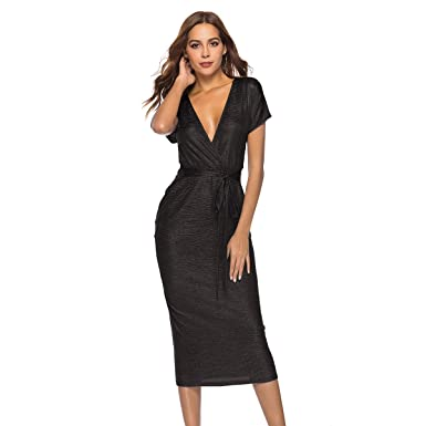 31ae933071 Zumine Women s Deep V Neck Bodycon Dress Short Sleeve Tie Front with Shinny  Crinkle Fabric Sexy