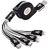 Multi USB Charger Cable Retractable CKCOCO 2Pack 4FT 4 in 1 Multiple Charging Cord Adapter with Lightning x2/Type-C/Micro USB Port Connectors for iPhone iPad Android Phones Universal Use