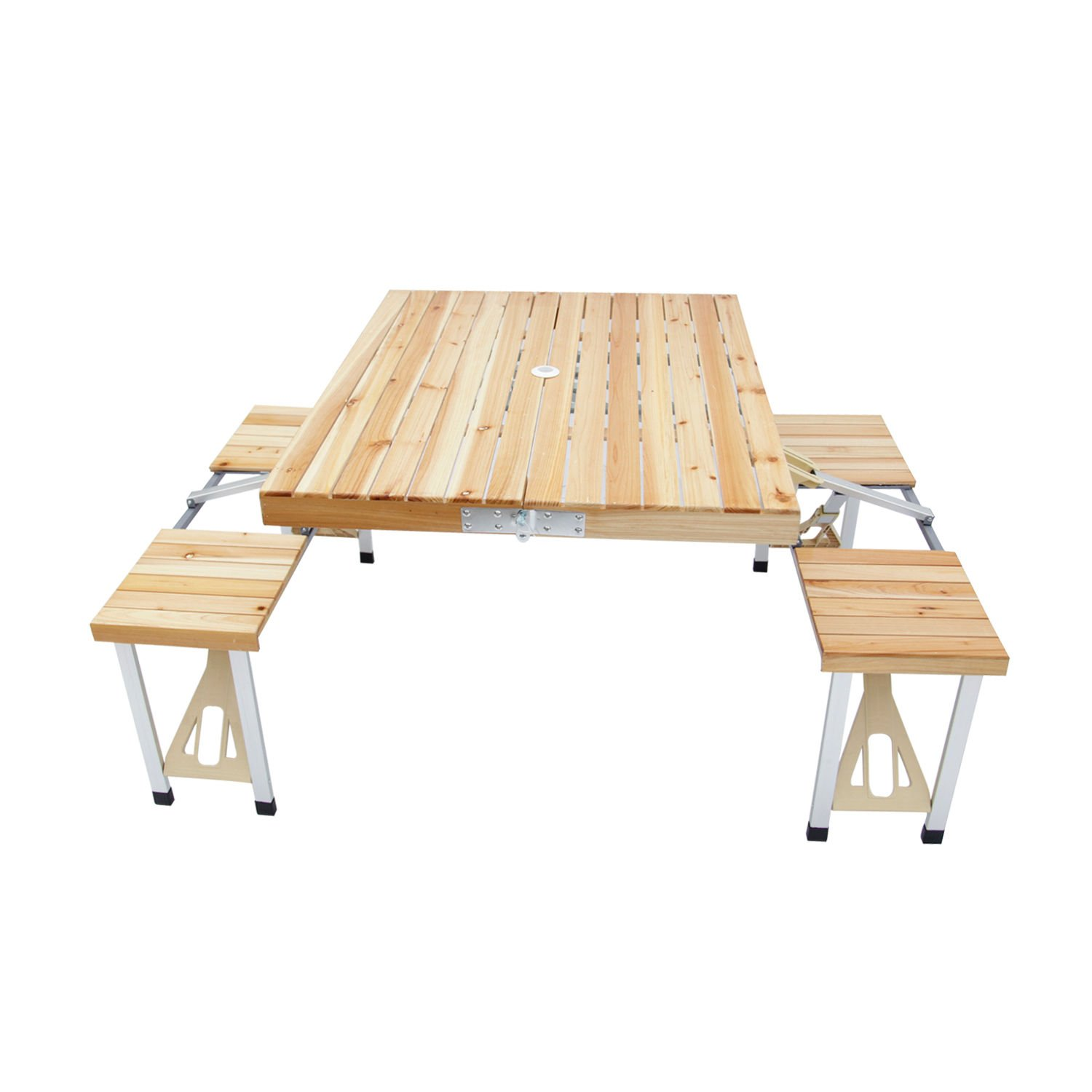 Wooden Folding Table Set Portable Party Camping Picnic Indoor Outdoor, 4 seats + FREE E-Book