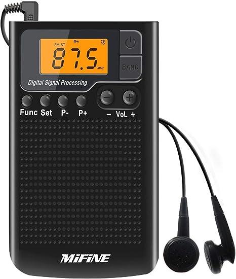 Radio de Bolsillo Am FM, Radios Portatiles pequeña con Reloj Despertador y Temporizador de sueño, Radio Bolsillo con Pilas estéreo con sintonización Digital para Auriculares de Mifine: Amazon.es: Electrónica