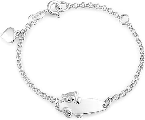 FREE ENGRAVING 925 Sterling Silver Lady Personalised Figaro Bracelet Zirconia
