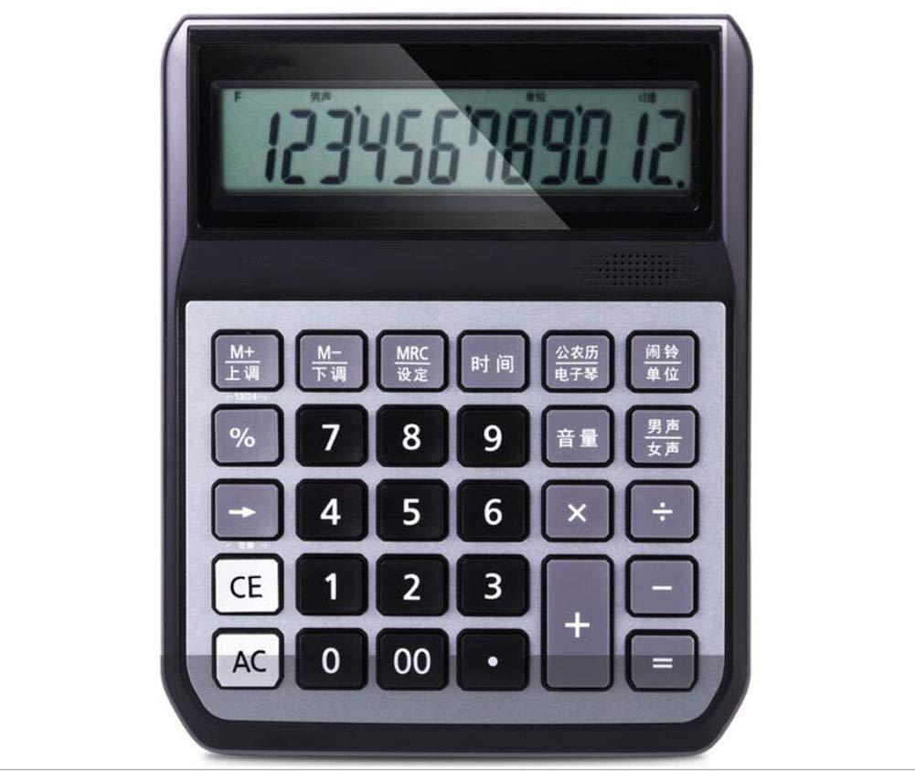 CalculatorVoice Business Calculator Plastic Button 12-bit Large Screen Metal Panel Voice Broadcast Music Alarm Clock