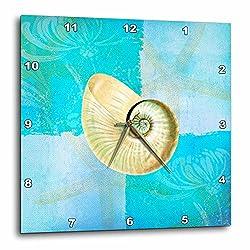 3dRose DPP_79349_1 White Shell with Starfish Aqua and Blue Beach Theme Wall Clock, 10 by 10