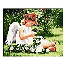 Rihe Diy Oil Painting, Paint by Number Kit-Angel 16x20inch (Frameless)