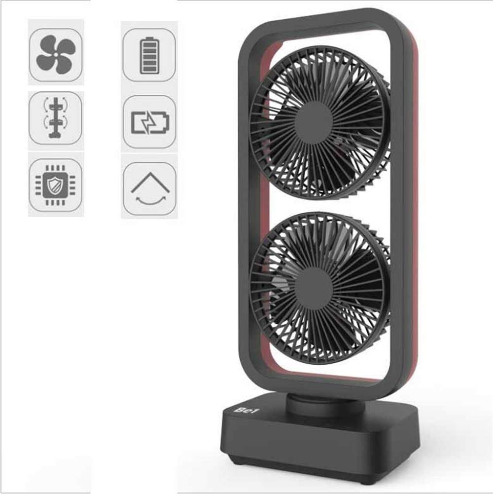 USB Fan, Double-Head Tower Fan 10000 Battery, Can Swing and Sway Out, Wind Speed Up to 4.2M/S,Black by ASLOV