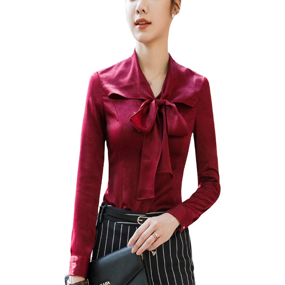 Fiyomet Camisa Manga Larga para Mujer Moda Vino Rojo Camisa Ropa ...