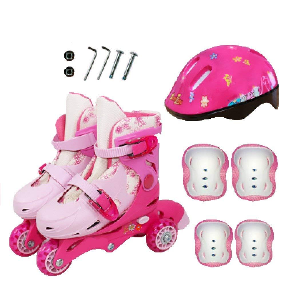 ZYH インラインスケート子供のローラースケート調節可能な女の子のおもちゃ初心者二列ローラースケート取り外し可能と洗える男の子幼児アイススケート  Pink-XS-Set1 B07R9W13WZ