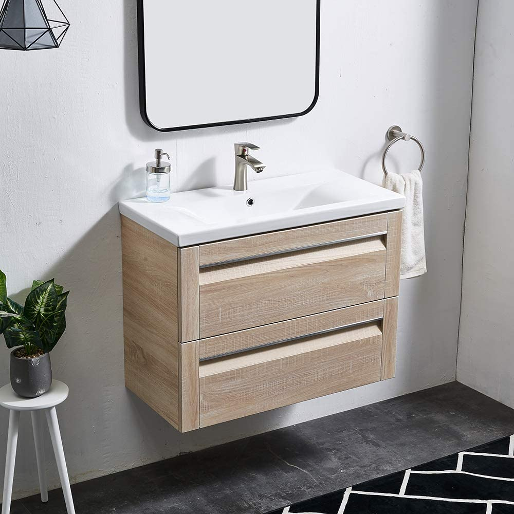 Light Wooden Bathroom Vanity Unit With Sink And 2 Large Storage Drawers Space Saving 600 Glanzhaus