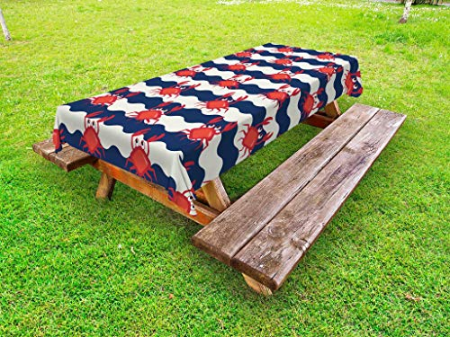 Ambesonne Crabs Outdoor Tablecloth, Nautical Maritime Theme Cute Crabs on Striped Background Illustration Print, Decorative Washable Picnic Table Cloth, 58 X 104 Inches, Red and Navy Blue