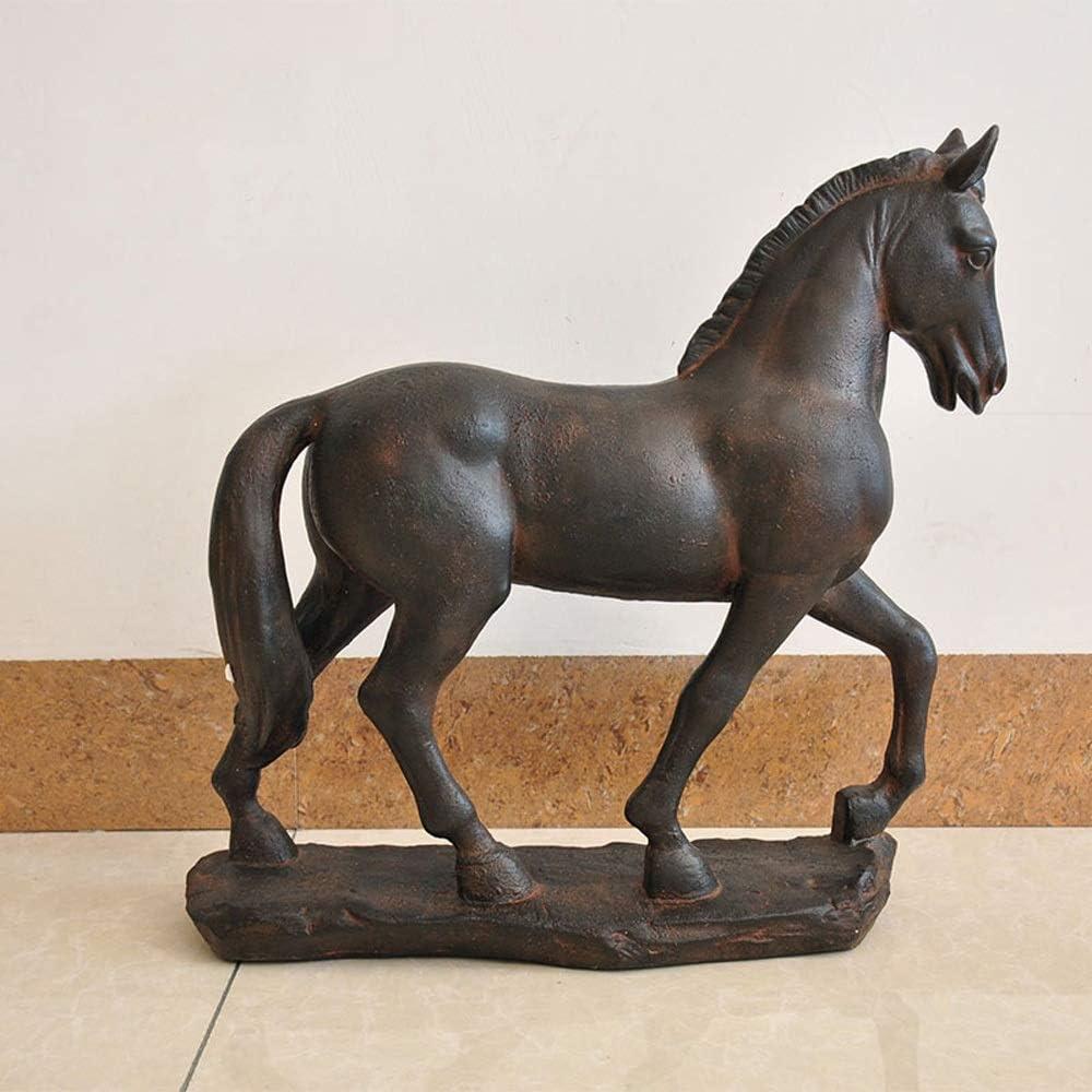屋外庭置物 素朴なレトロな鋳鉄製の軍馬デコレーションホームガーデンコートヤードガーデニング小さな彫刻の飾り (色 : 褐色, サイズ : 43x14x45CM)