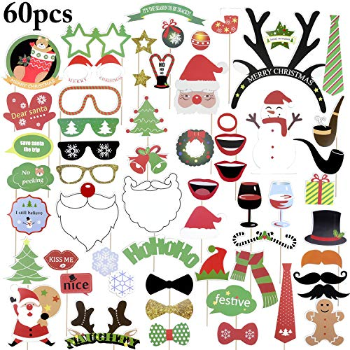 Funpa Christmas Photo Booth Props Funny Xmas Selfie Props Festivals Party Favor Decorations (60PCS)
