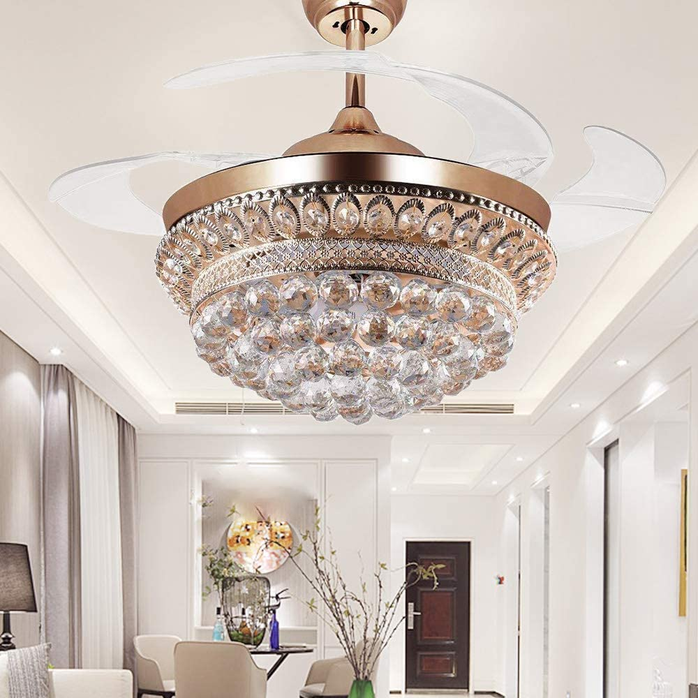 RS Lighting Chandelier Ceiling Fan Light with Remote Control and Transparent Blades 3 Varied Light Colors Ceiling Fans 42 inch for Indoor, Living Room, Corridor, Dining Room Light 42inch, Gold-01