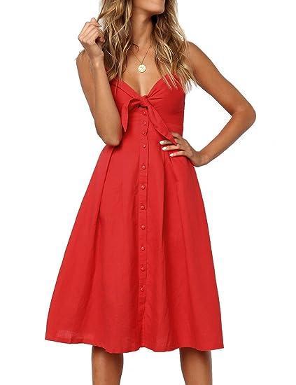 Feager Women s Summer Bohemian Spaghetti Strap Button Down Midi Dress with  Pockets Wine Red 7ea6b638d