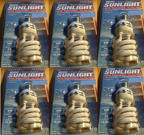 Mini-Twist Bulb, 6PK 14W CFL SUNLGHT BULB