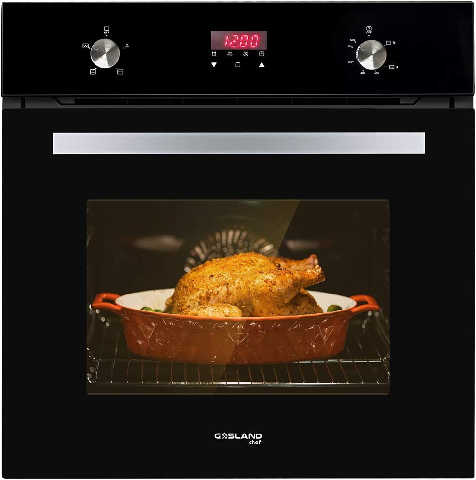 "Single Wall Oven, GASLAND Chef GS606DB 24"" Built-in Natural Gas Oven, 6 Cooking Functions Convection Gas Wall Oven with Rotisserie, Digital Display with Mechanical Knob Control, Black Glass Finish"