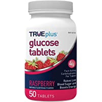 TRUEplus Glucose Tablets, Raspberry - 50ct