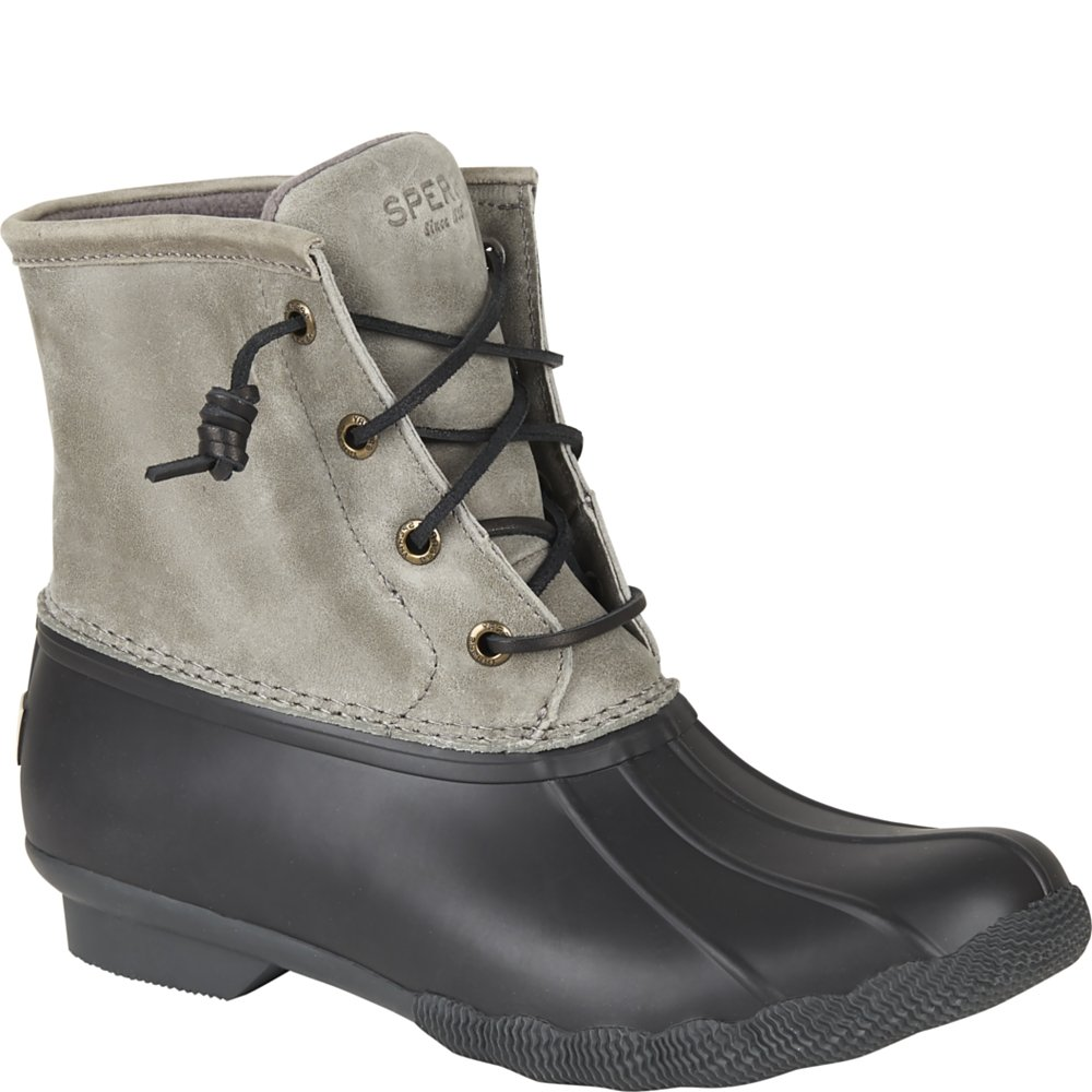 Sperry Top-Sider Women's Saltwater Rain Boot, Black/Grey, 8 M US
