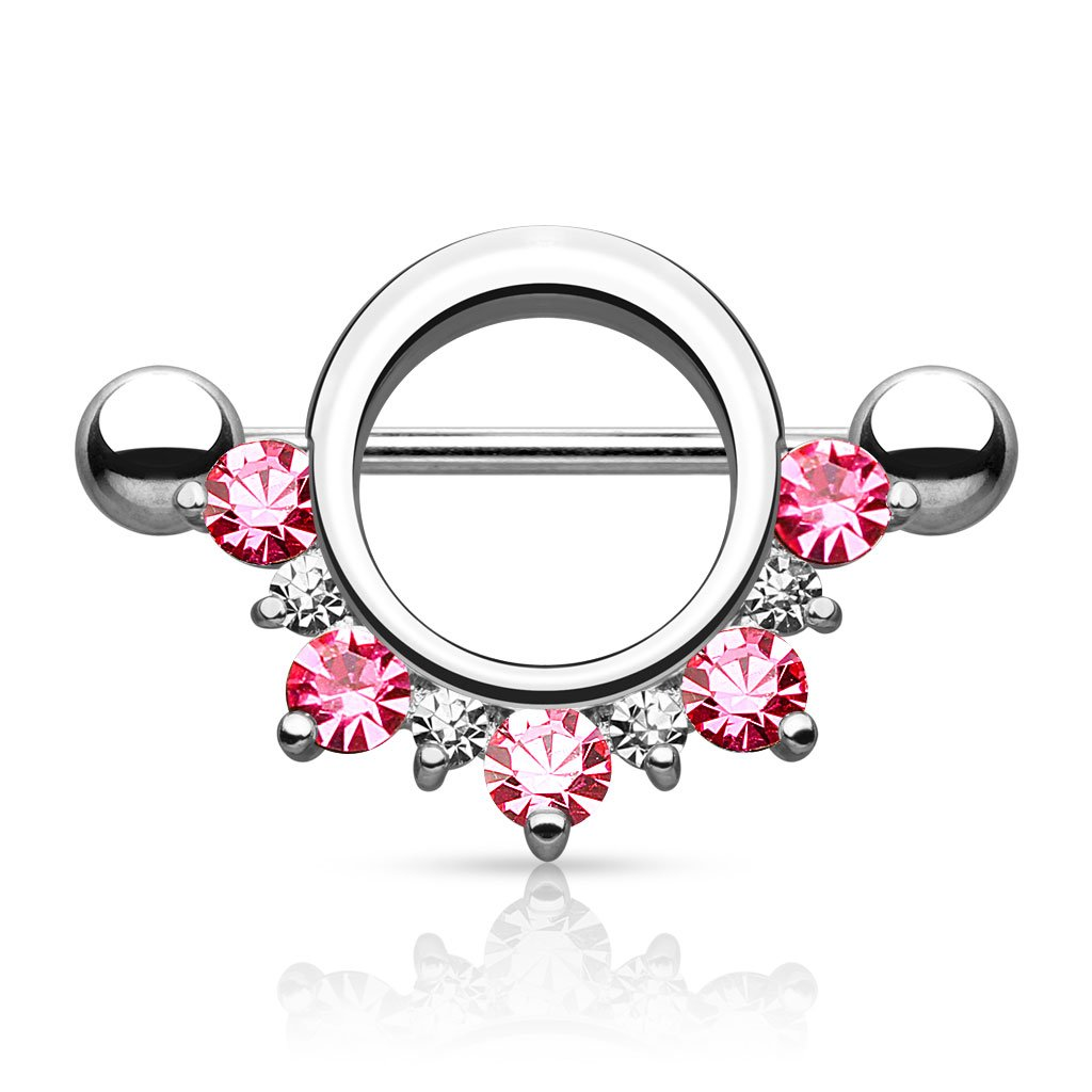 Surgical Steel Nipple Shield w// Half Circle CZ Lined Pink