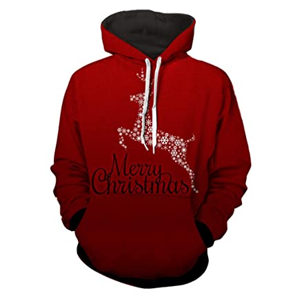CHAOHAO@ 3D Pullover Hooded 3D Sweater Christmas Sweater 3D Digital Sweater Halloween Funny Turtleneck Sweater
