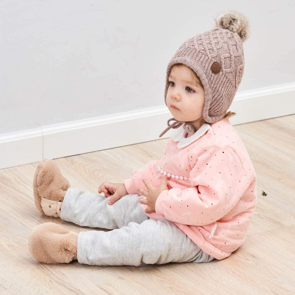 AHAHA Baby Girls Winter Earflap Hat Pompom Knitted Hats for Girls