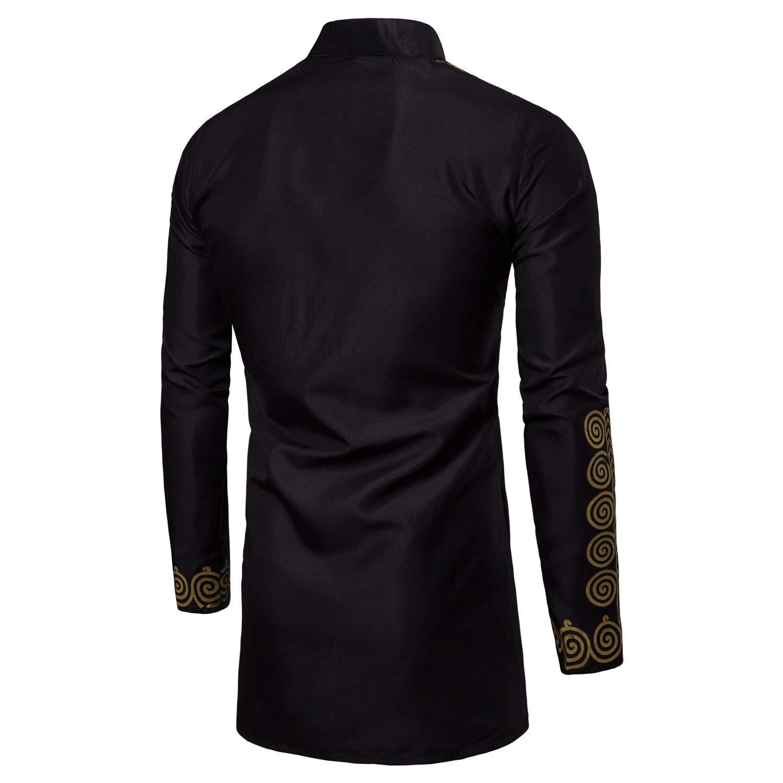 DressUMen Gilded Muslim Oversize Stand Collar Button Down Shirt