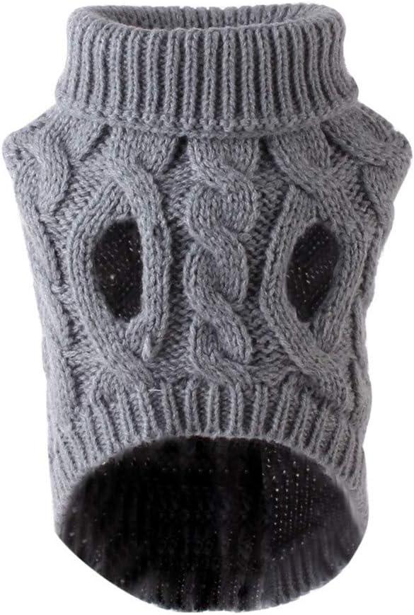 Sunnyushine Ropa Perro Jersey De Cuello Alto para Mascotas Pequeño Invierno Camiseta Suéter De Cuello Alto De Lana Suéter Cálido Y Cómodo Manner
