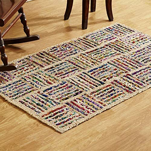 Better Trends Criss Cross Braid Collection is Durable Mildew Moisture Resistant Reversible Indoor Area Utility Rug 100 Jute in Vibrant Colors, 36 x 60 Rectangle, Multi