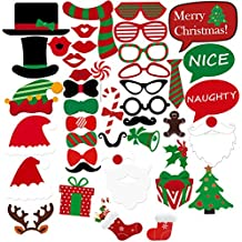 LUOEM Christmas Photo Booth Props Kit DIY Posing Props Christmas Dress-up Accessories for Fun, Pack of 43
