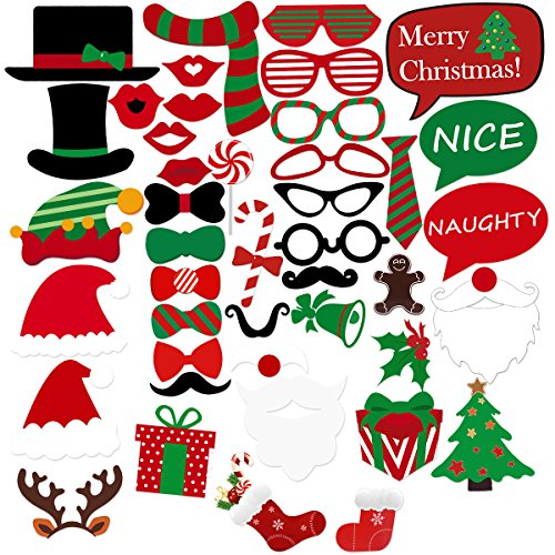 TINKSKY Christmas Party Photo Booth Props Merry Christmas Photo Props Kit for Party Decoration -