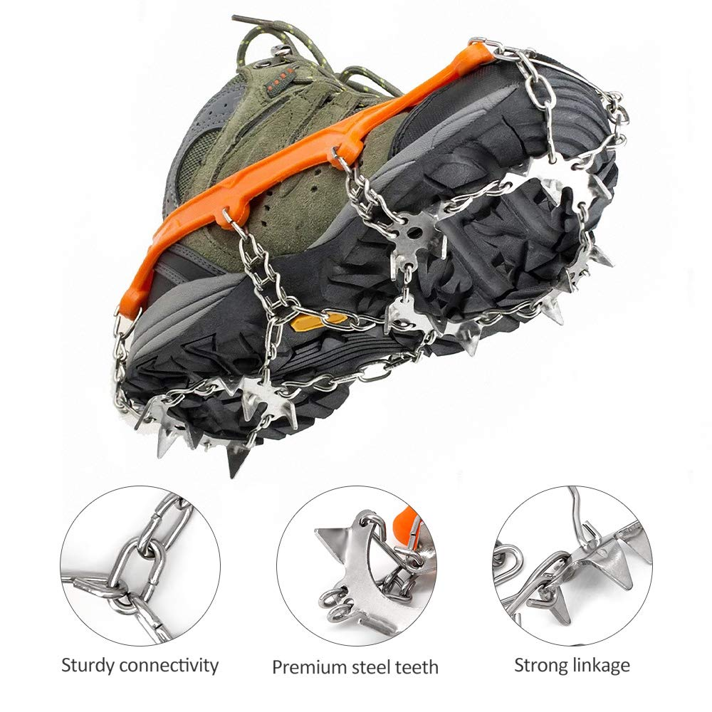 Wandern Bergsteigen Schnee//Ski Stiefel Schuhe Traktions-Cleats LANDWIND Anti Rutsch Steigeisen Mangan StahlSpitzen Greifer f/ür Klettern