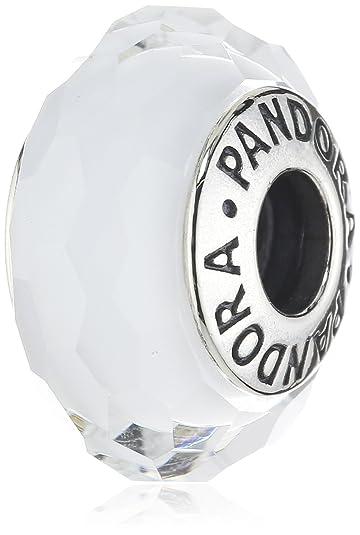 pandora charm - verre de murano facetté blanc 791070