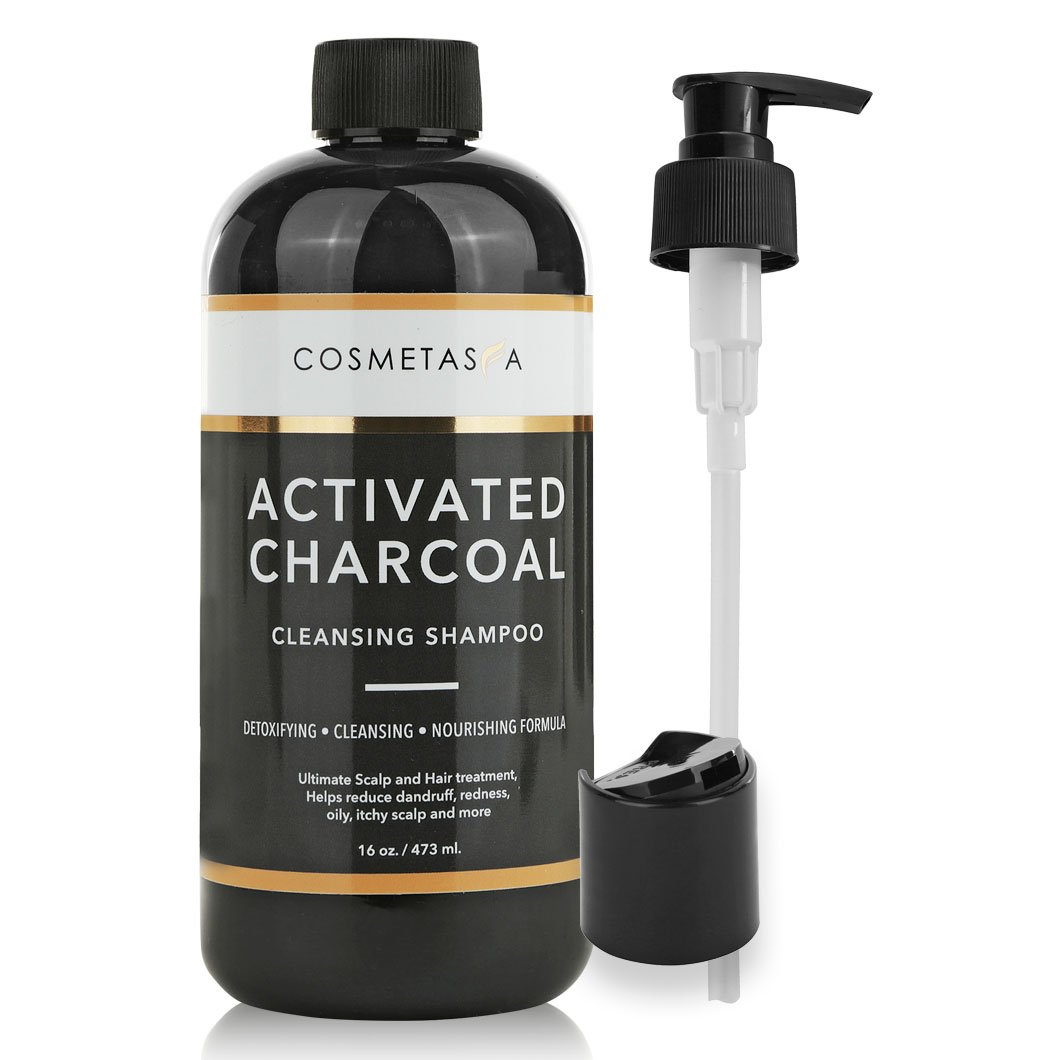 Activated Charcoal Cleansing Shampoo 16 oz :: Hair and Scalp Clarifying, Volumizing, Nourishing & Detoxing for Men and Women ::Natural, Paraben & Sulfate Free by Cosmetasa