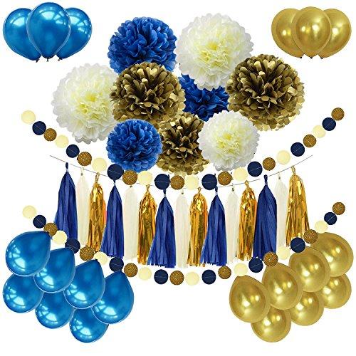 46pcs DIY Navy Blue Gold Party Decorations Supplies Blue Birthday Baby Shower Pary Decor Navy Blue Gold Cream Paper Pom Poms Balloons Navy Blue Dot Paper Garland Wedding, Bridal Shower ()