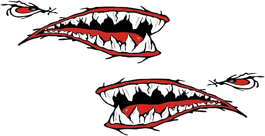 Magideal Hai Aufkleber Ideal Für Kajak Kanu Fischerboot Schlauchboot Auto 2 Stück Set Haifisch Sticker Auto