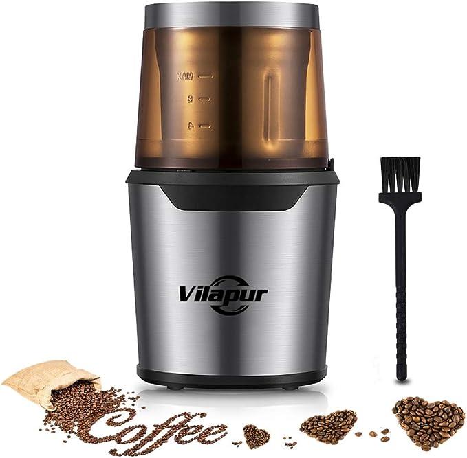 Vilapur Kaffeemühle,Elektrische Kaffeemühle & Gewürzmühle mit Edelstahlklingen Abnehmbare Schüssel & Klarer Deckel, 80g Fassungsvermögen