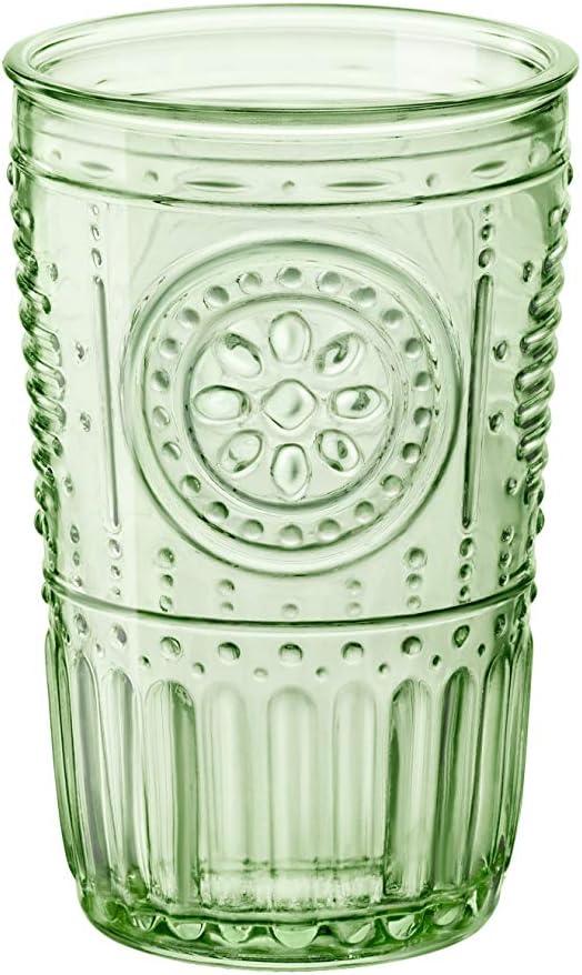 color verde 34 cl Juego de 4 vasos de cristal Bormioli Rocco 090802 Romantic