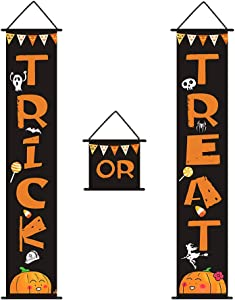 Halloween Banner Hanging Decorations - Trick or Treat Porch Sign Front Door Home Office Indoor Outdoor Party Decor Supplies