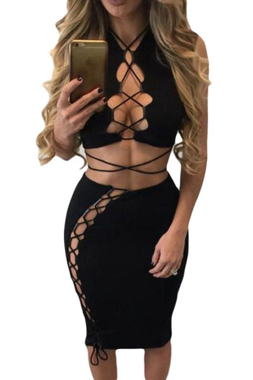 3371ebed081a Wowforu Black Daring Sexy Lace Up Cut Out 2pcs Club Evening Dress: Amazon.co .uk: Clothing