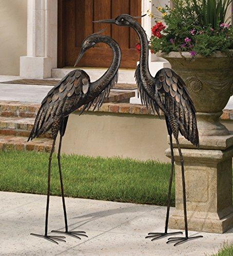 Blue Heron Bronze Finished Metal Garden Statuary (Set of 2