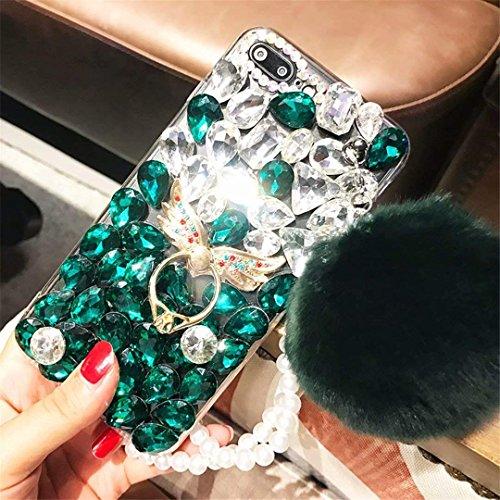 Alcatel Fierce 4 Case,Alcatel Allura Case,Alcatel Pop 4 Plus Full Crystal Diamond Case, Finger Buckle Luxury Fur Ball Sparkle Crystal Rhinestone Diamond Glitter Bling TPU Case(Angel/Green)