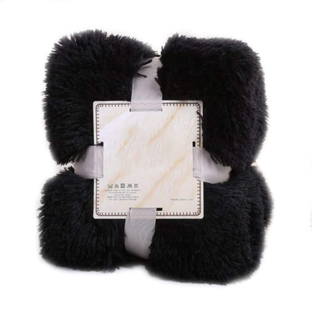 YAOBAO Super Soft Shaggy Blanket,Fuzzy Faux Fur Warm Cozy Plush Microfiber Blanket, 130160CM,Black