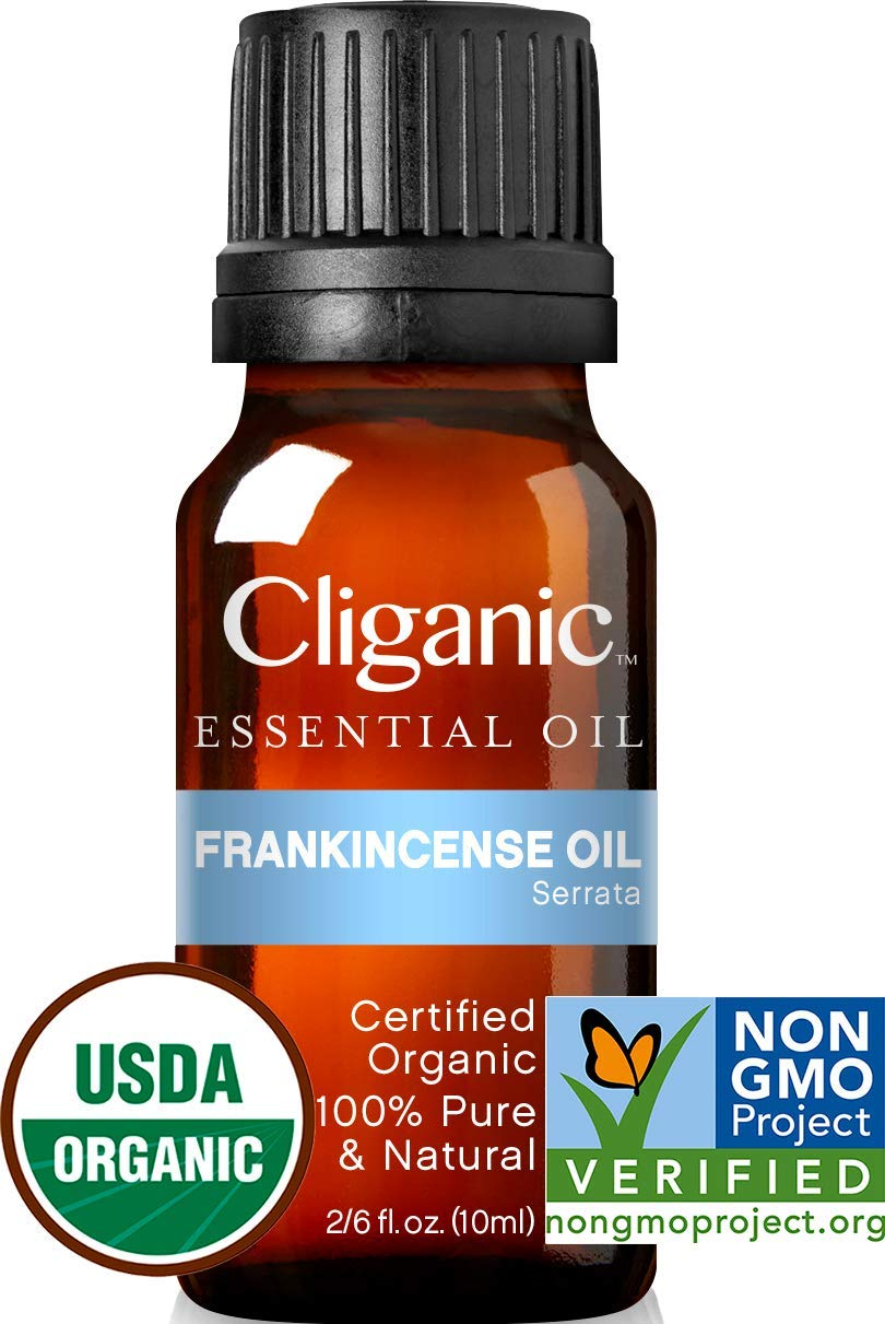 Cliganic USDA Organic Frankincense Essential Oil - Boswellia Serrata, 100% Pure Natural Undiluted, Therapeutic Grade for Aromatherapy | Premium Certified Organic, Non-GMO